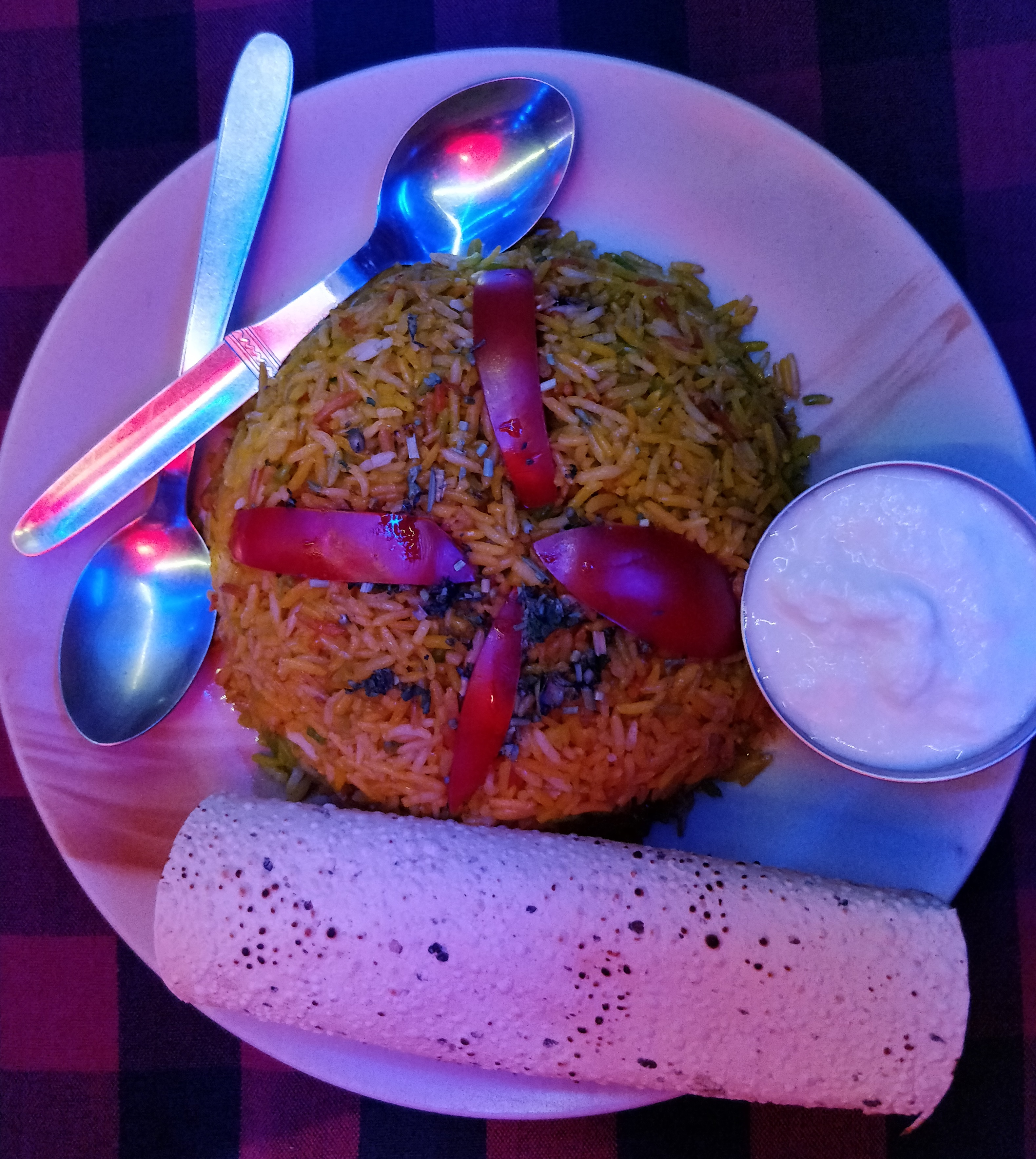 A delicious meal consisting of Biryani, curd and papad at Chinatown Rooftop Cafe in Kasol, India.