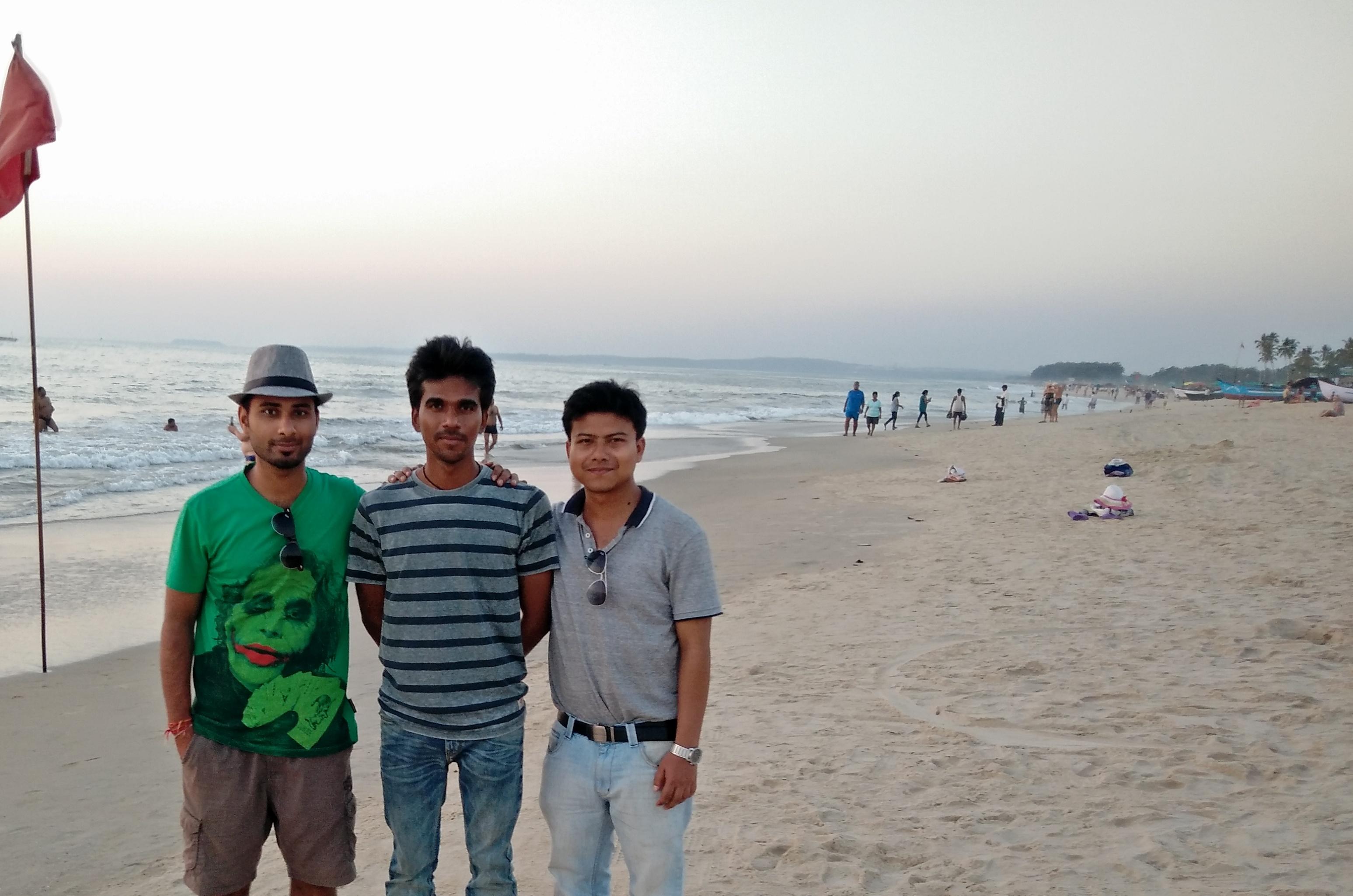 guys posing at the Colva Beach, Goa, India