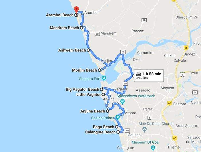map displaying the best beaches in north goa