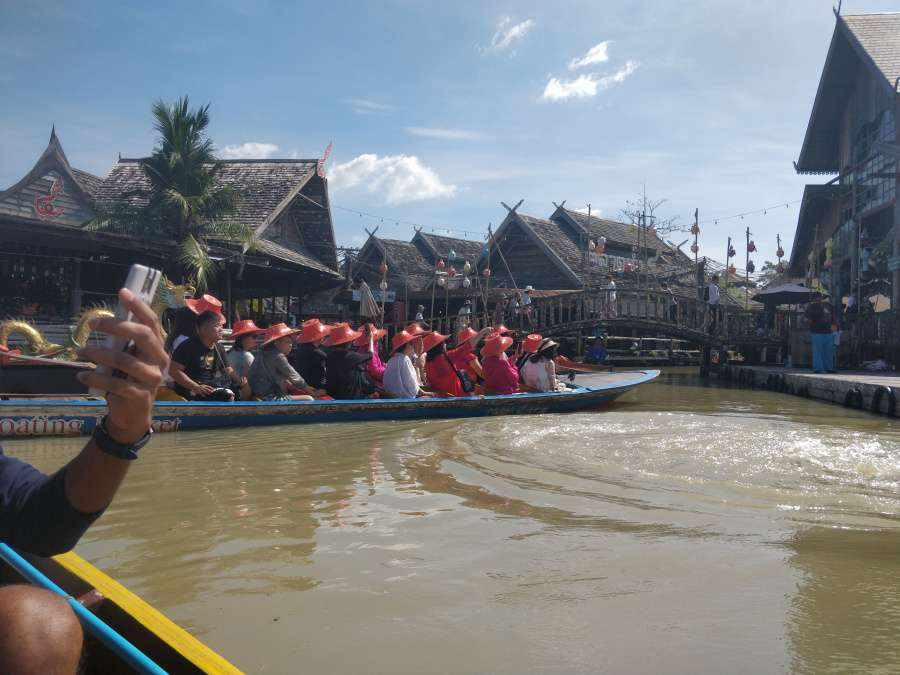 view from a boat of the floating market, Pattaya