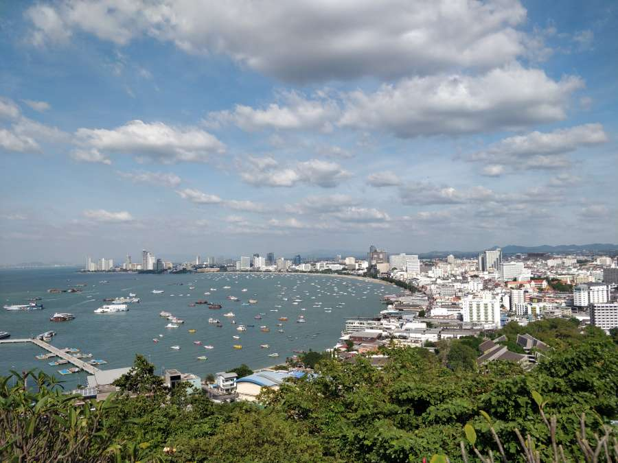 view of pattaya skyline from the pattaya view point.