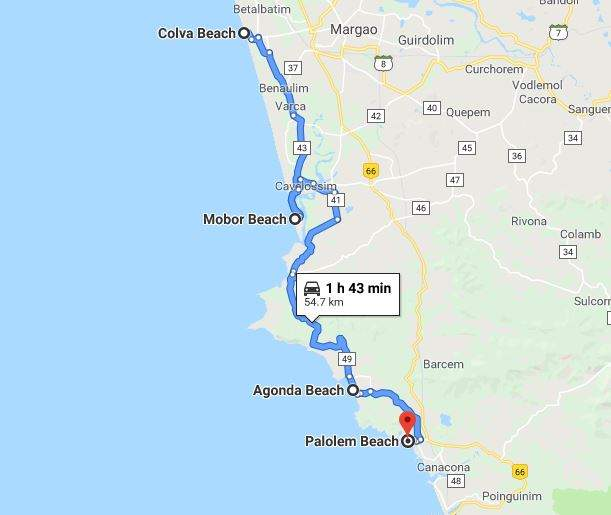map displaying the best beaches in south goa